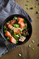 Poke with salmon and avocado