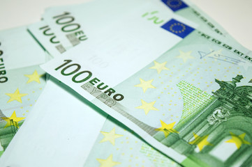 One hundred euro banknotes close up, currency of European union