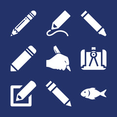 Draw filled vector icon set on navy background