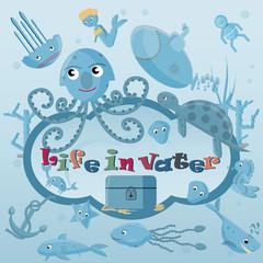 flat illustration_1_ on marine life, underwater life, label or sticker design