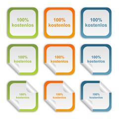 Aufkleber Set - grün orange blau - 100 Prozent kostenlos