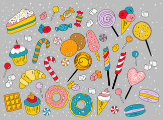 Collection of vector sweets
