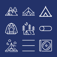 Cover outline vector icon set on navy background