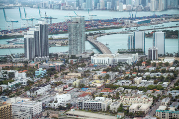 Aerial view of Miami skyline with buildings and MacArthur Causeway