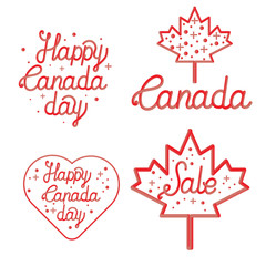 Happy Canada Day hand drawn typography design. Lettering illustration. Perfect for advertising, poster, announcement, invitation or greeting card.