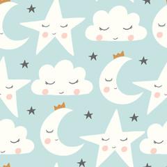 vector sleepy moon, cloud, star in blue seamless repeat pattern background