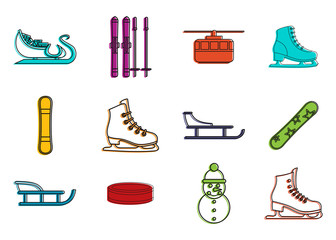 Winter sport icon set. Color outline set of winter sport vector icons for web design isolated on white background