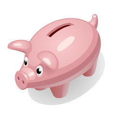 Cartoon piggy bank icon