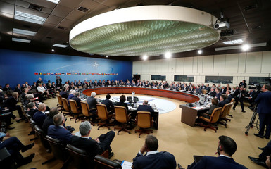 General view shows the room used for the last time before NATO headquarters move, at the Alliance's headquarters in Brussels