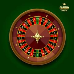 American casino roulette wheel on dark green background
