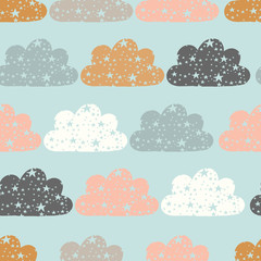 vector starry clouds repeat background, cloud repeat pattern, stars and clouds pattern