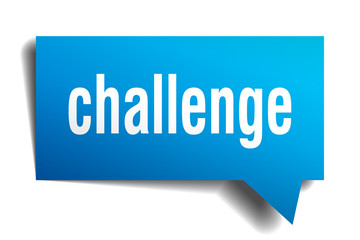 challenge blue 3d speech bubble