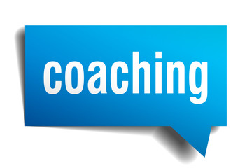 coaching blue 3d speech bubble