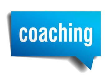 coaching blue 3d speech bubble