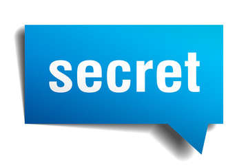 secret blue 3d speech bubble