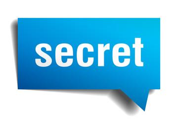 secret blue 3d speech bubble