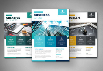 Business Flyer Layout with Colorful Squares