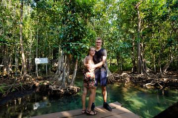 Tourists in Tha Pom mangrove reserve