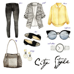 Watercolor Fashion Illustration. set outfit. City style and trendy clothing.jeans, jacket,blouse, bag,shoes,sunglasses,wrist watch,earrings