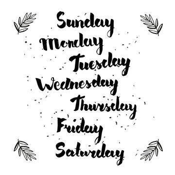 Hand writing lettering of weekdays for planner or calendar. Unique original name of days.