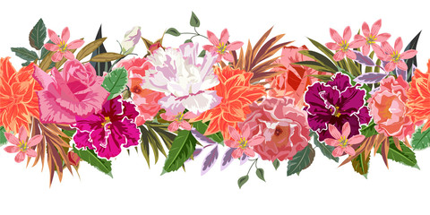 Seamless floral border with beautiful garden flowers. Hand-drawn pattern on white background. Design element for cards, invitations, wedding, congratulations. Panoramic format.