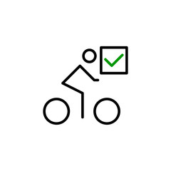 Bicycle with a mark icon