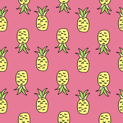 Vector Pink Pineapple Seamless Pattern