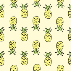 Vector Yellow Pineapple Seamless Pattern