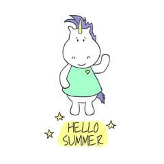 Illustration wiht cute unicorn. Hello summer. Vector illustration.