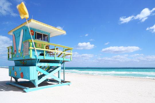 Lifeguard hut in South Beach, Florida