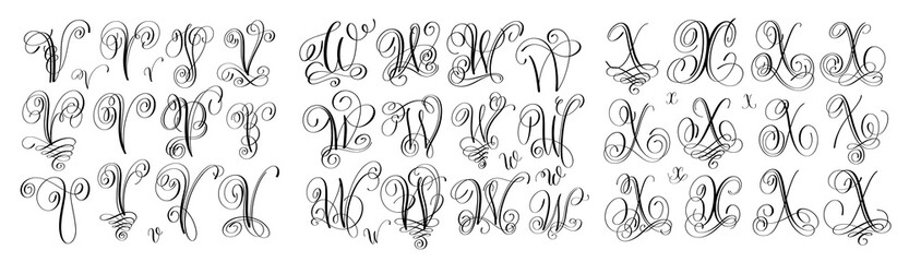 calligraphy letters set V, W and X, script font