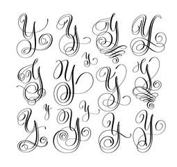 calligraphy lettering script font y set, hand written