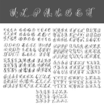 mega set of calligraphy hand written alphabet design