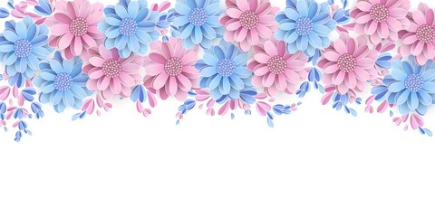 Floral border isolated on white background Pastel light blue and pink flowers with 3d elements Vector