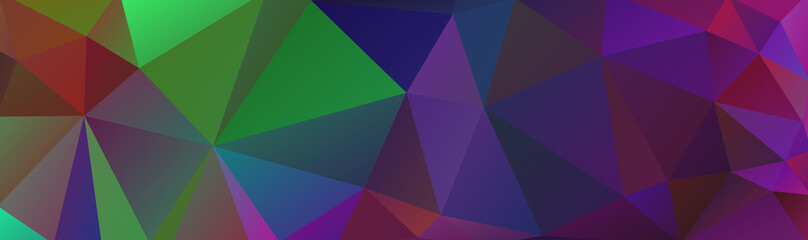 Multicolor abstract background banner of triangles, all the colors of the rainbow