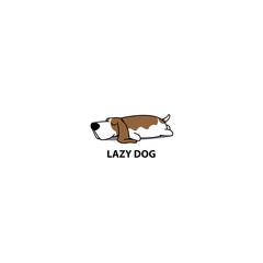Lazy dog, cute basset hound sleeping icon, vector illustration