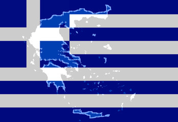 Illustraion of a Greek Flag with a contour of borders