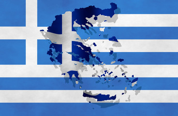 Illustration of a Greek flag with a contour of borders