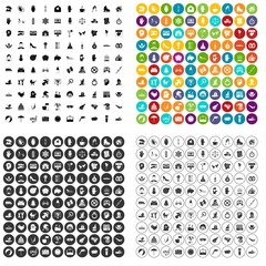 100 joy icons set vector in 4 variant for any web design isolated on white