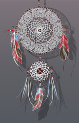 Dreamcatcher, vector illustration. Tribal symbol with feathers.