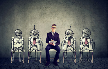 Human vs Robots technology concept