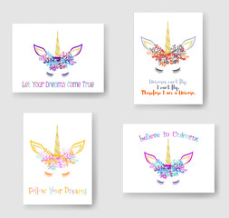 Unicorn horn in floral wreath tiara illustration on cards collection. Trendy vector meme unicorn head with horn, flowers and quotes phrase text. Follow Your Dreams quote. Let your dreams come true.