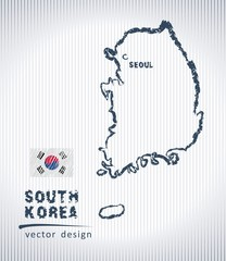 South Korea vector chalk drawing map isolated on a white background