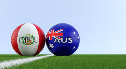 Peru vs. Australia Soccer Match - Soccer balls in Australia and Peru national colors on a soccer field. Copy space on the right side - 3D Rendering