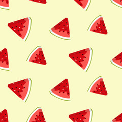 Summer seamless pattern with watermelon slices. Vector background. Colorful print for wallpaper, backdrop, fabric, etc.