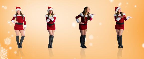 Composite image of different festive blondes against orange vignette