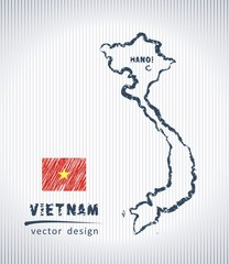 Vietnam vector chalk drawing map isolated on a white background