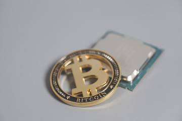Central processing unit CPU microchip with Bitcoins