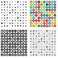 100 laboratory icons set vector in 4 variant for any web design isolated on white