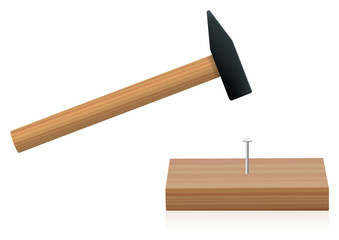 Hammer driving a nail into a plank - isolated vector illustration on white background.